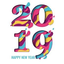 水彩2019字体设计图片